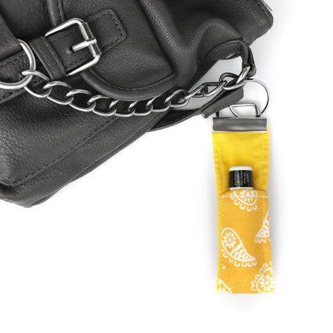 Yellow Paisley Lip Balm Key Fob