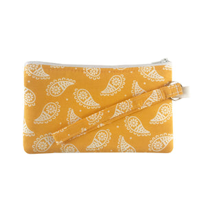 Yellow Paisley Wristlet Clutch