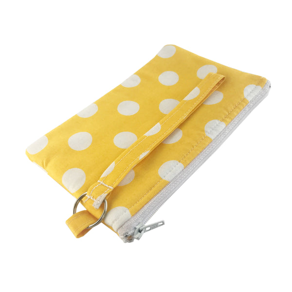 Yellow Polka Dot Wristlet Clutch
