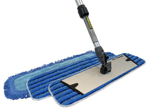"Easy-Clean™ Snap-On™ 18"" Flat Mop Set with Aero-Aluminum Adjustable Handle (4 Pack) - FlexSweep"