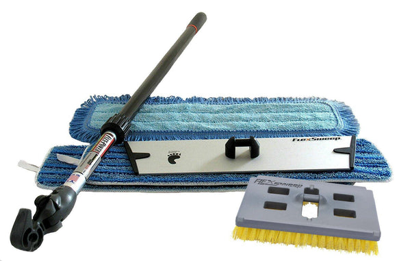 Easy-Clean™ Snap-On™ Flat Mop and Scrub Brush Kit (3 Pack) - FlexSweep