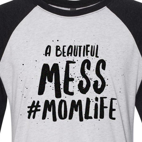 A Beautiful Mess #Momlife Baseball Raglan Tee - 1108 Boutique