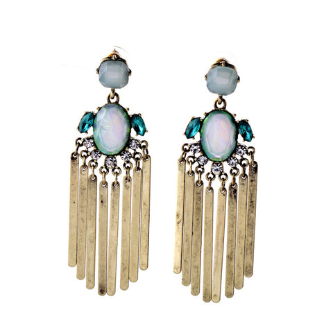 Aubrey Aqua Tassel Fringe Earrings 1108 Boutique