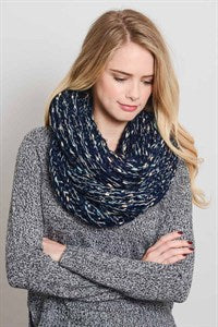 Confetti Knit Infinity Scarf in Navy Blue 1108 Boutique