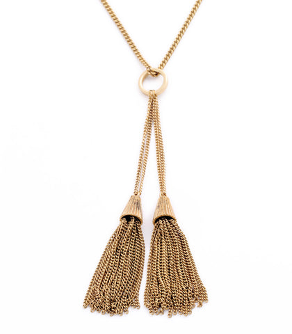 Antique Gold Tassel Necklace 1108 Boutique