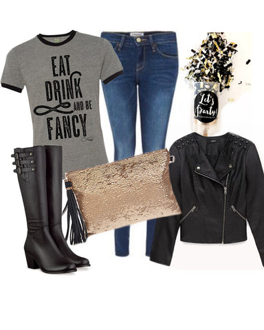 Eat Drink and Be Fancy Vintage Ringer Tee in Black and Grey 1108 Boutique