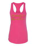 Fancy Auntie Racerback Tank in Raspberry Pink and Gold Glitter 1108 Boutique