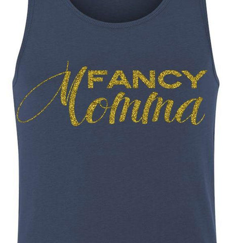 Fancy Momma Blue Tank Top with Gold Glitter 1108 Boutique