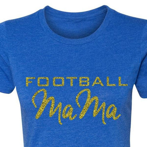 Women's Football Mama Crew T-shirt in Royal Blue 1108 Boutique