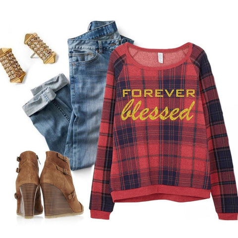 Forever Blessed Plaid Sweater in Red / Blue / Gold Glitter 1108 Boutique