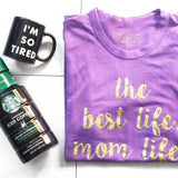 Mom Life Purple Crew T-Shirt in Gold Glitter - Unisex 1108 Boutique