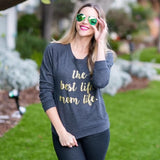 Mom Life Women's Raglan Sweatshirt in Navy and Gold Glitter 1108 Boutique