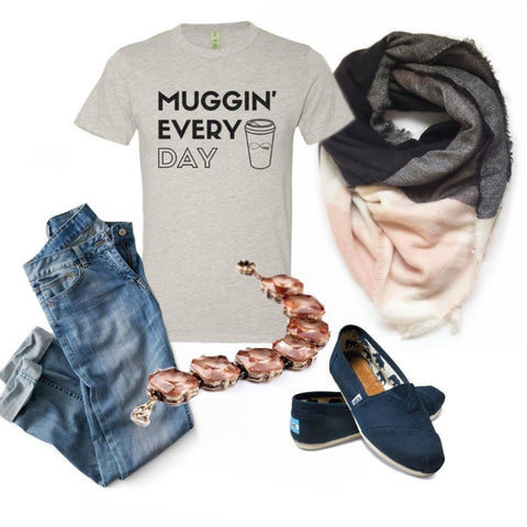 Coffee Lover Tee - Muggin' Everyday Tee with Black Rainbow Glitter 1108 Boutique