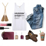 Coffee Lover Tank Top - Muggin' Everyday White Tank Top with Rainbow Black Glitter 1108 Boutique