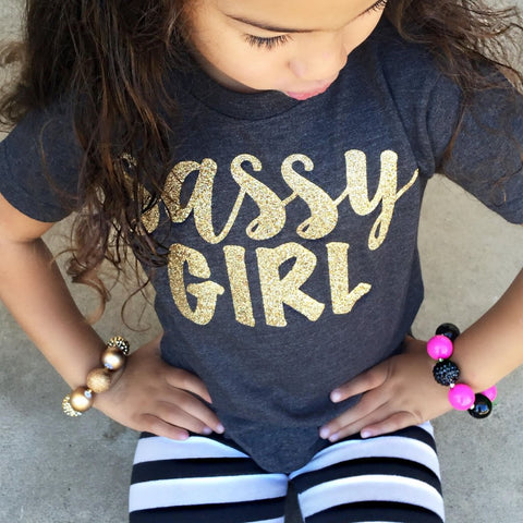 Little Girl's Sassy Girl Tee in Black with Gold Glitter 1108 Boutique