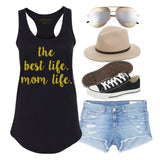 Mom Life Black Tank Top in Gold Glitter 1108 Boutique