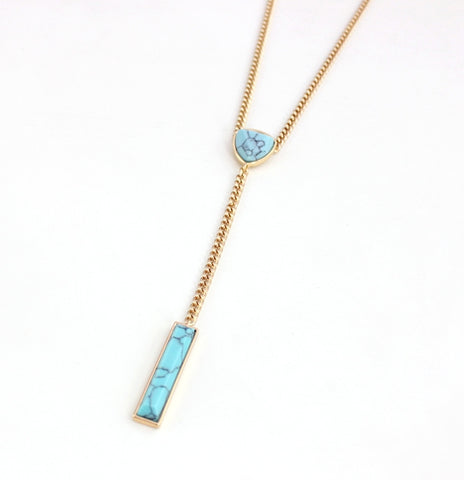 Layered Turquoise Y Pendant Necklace 1108 Boutique