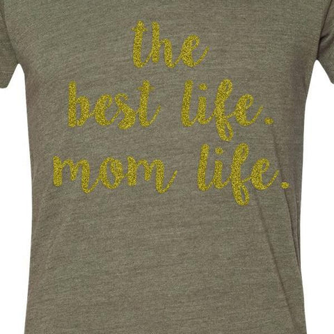 Women's Mom Life V Neck T-shirt in Olive Green with Gold Glitter Ink 1108 Boutique
