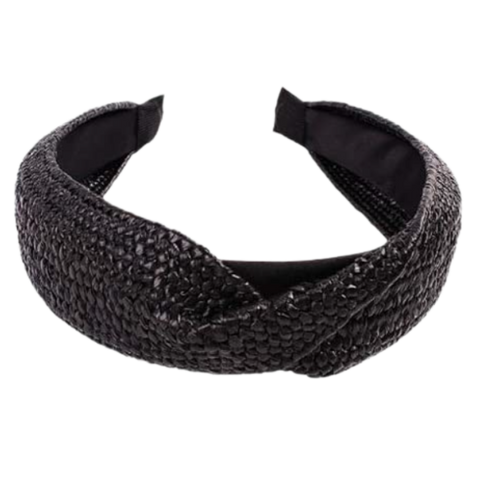 Bali Straw Twist Headband in Black