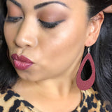 Burgundy Cutout Teardrop Earrings 1108 Boutique