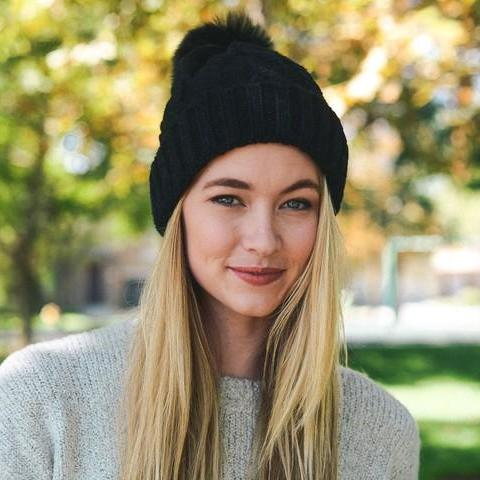 Cable Knit Beanie with Pom 1108 Boutique