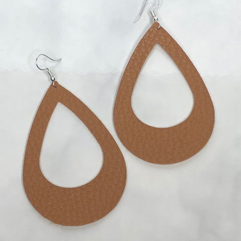 Camel Brown Cut Out Teardrop Earrings 1108 Boutique