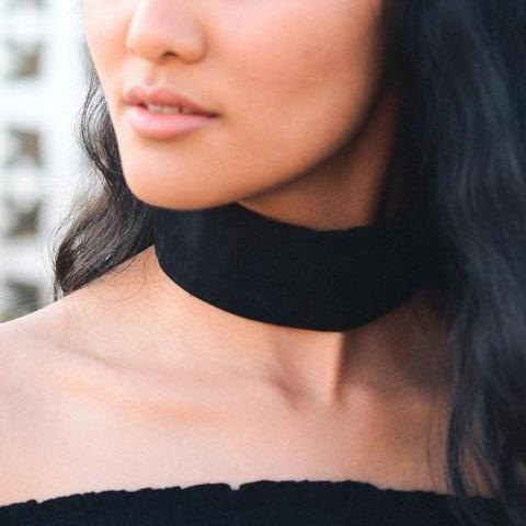 Thick Black Suede Choker 1108 Boutique