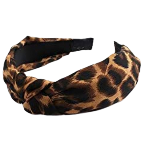 Fierce Animal Print Twist Headband in Dark Brown