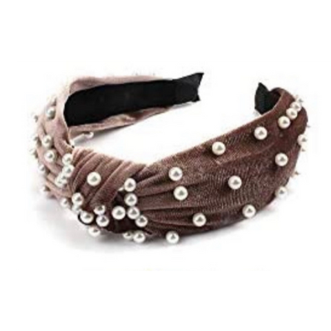 Haute Pearl Twist Velvet Headband in Mocha