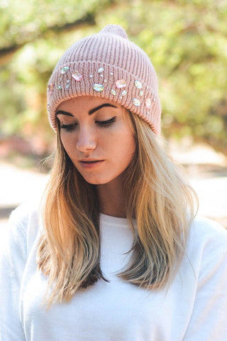 Jeweled Knit Beanie - 2 Colors Available 1108 Boutique