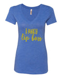 Fancy Lip Boss Royal Blue V Neck Tri-blend Tee in Gold Glitter