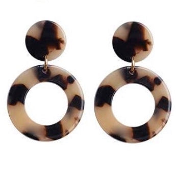 Mini Circle Tortoise Dangle Earrings