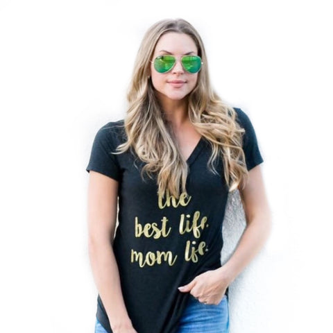 Mom Life Black V Neck Tshirt 1108 Boutique