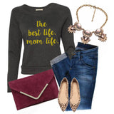 Mom Life Women's Raglan Sweatshirt in Black and Gold Glitter 1108 Boutique