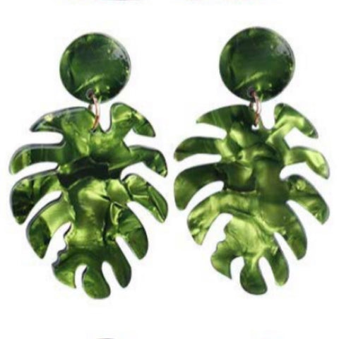 Palm Leaf Resin Drop Earrings