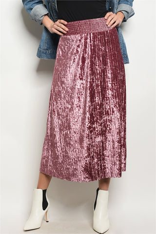 Pleats and Thank You Velvet Skirt - Mauve Pink 1108 Boutique
