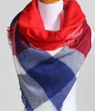 Red and Blue Oversized Tartan Scarf 1108 Boutique