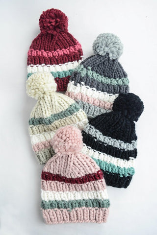 Striped Pom Beanie 1108 Boutique