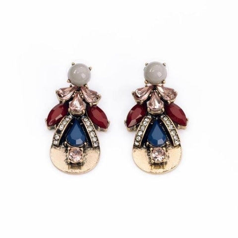 Kortney Antique Gold Statement Drop Earrings 1108 Boutique