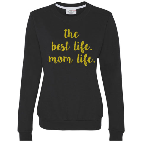 Women's Mom Life Black Fitted Sweater in Gold Glitter Ink 1108 Boutique