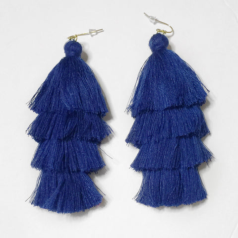 Blue Tassel Earrings 1108 Boutique