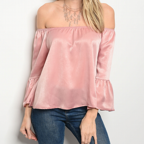 3/4 bell sleeve off the shoulder satin top 1108 Boutique