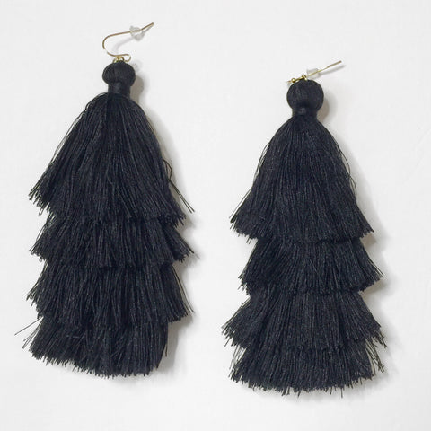 Isabell Black Tassel Earrings 1108 Boutique
