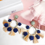 Pom Pom Tassel Statement Earrings 1108 Boutique