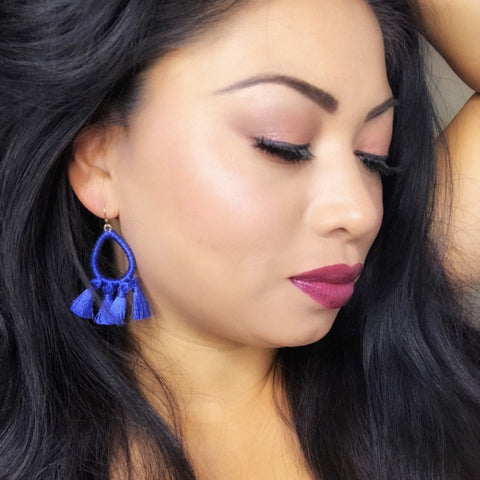 Royal Blue Hoop Tassel Earrings 1108 Boutique
