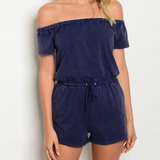 Marielle Navy Off the Shoulder Romper 1108 Boutique