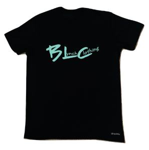 Black & Teal Green  Brand Logo  T-Shirt