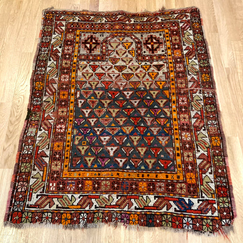 Antique Rug, 3' 1 x 4' 1 Blue Prayer