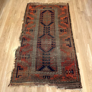 Antique Rug, 2' 11 x 5' 7 Blue Tribal