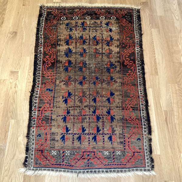 Antique Rug, 2' 6 x 4' Tan